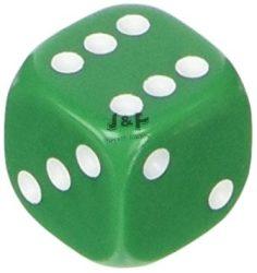 Dobókocka D6 6 oldalú 12mm zöld - 36 db