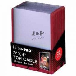 """Ultra Pro toploader kemény tok 3"""" x 4""""  Standard színtelen piros kerettel 35pt - doboz (25 db)"""