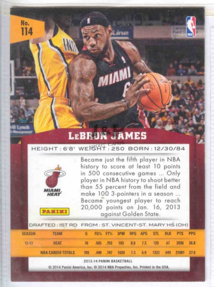 2013-14 Panini Basketball  114 LeBron James - Sport Kártya Bolt ... ee158b9c27