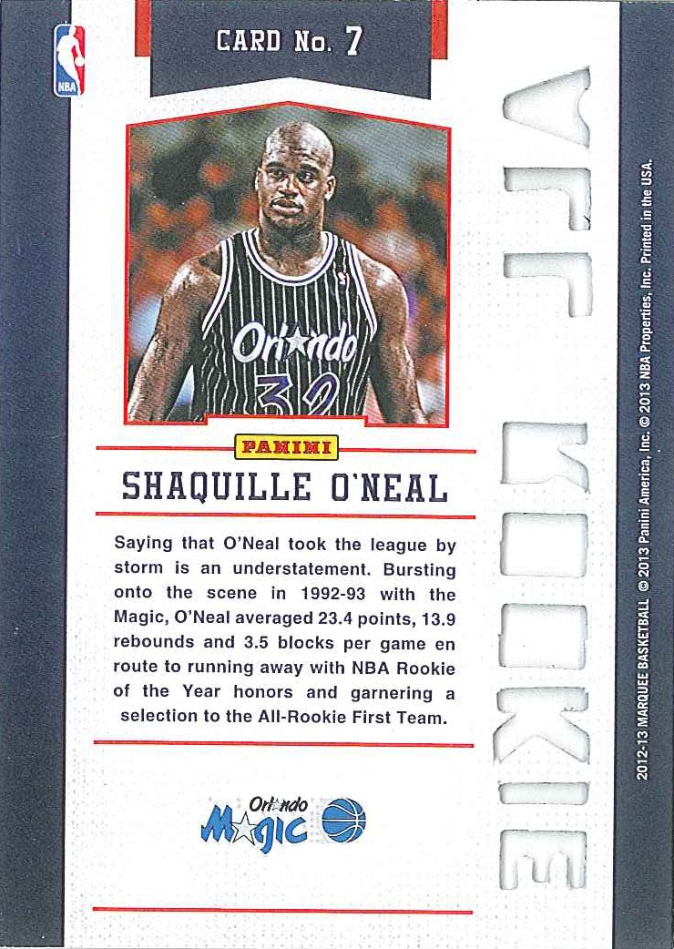 All-Rookie Team #7 Shaquille O\'Neal back $5
