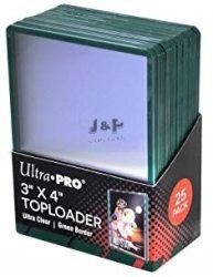 """Ultra Pro kemény tok toploader 3"""" x 4""""  Standard színtelen zöld kerettel 35pt - doboz (25 db)"""