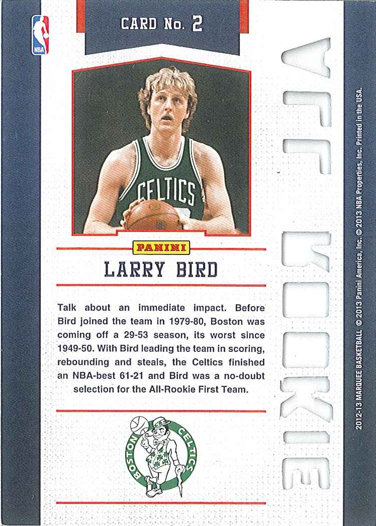 All-Rookie Team #2 Larry Bird back $6