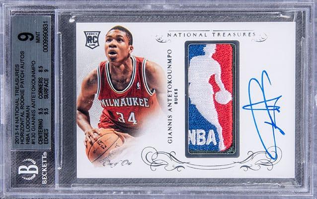 2013-14 Panini National Treasures Horizontal Rookie Patch Autographs NBA Logoman #130 Giannis Antetokounmpo